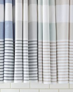 Fouta Shower Curtain in Navy, Dove Grey, Aqua, Bone #serenaandlily