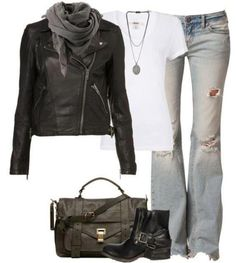 Light wash denim jeans, white tee, black leather jacket with grey scarf. black boots. {this is a very Jennifer Aniston outfit}