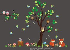 """Baby Nursery Kids Children's Wall Decals: Forest Nature Woodlands Animals Wildlife Themed 85"""" tall X 114"""" wide (Inches): Repositionable Removable Reusable Wall Art: Better than vinyl wall decals: Superior Material Nursery Wall Decals http://www.amazon.com/dp/B00VR4AKT4/ref=cm_sw_r_pi_dp_mQetvb05V5KMT"""