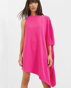 e7b4a5f0055f Draped side tunic dress Fuchsia Dress