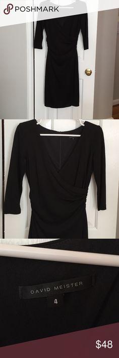 David Meister black cocktail dress David Meister black cocktail dress with 3/4 length sleeves David Meister Dresses Midi