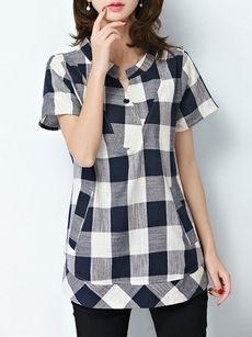 Plaid Charming Short Sleeve Band Collar Blouses