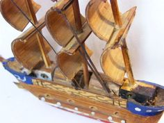 Vintage Toys - Small handmade wooden ship - some small parts missing for sale in… Wooden Ship, Handmade Wooden, Vintage Toys, Old Fashioned Toys, Old School Toys