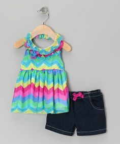 Look what I found on #zulily! Blue Zigzag Halter Tunic & Denim Shorts - Toddler & Girls #zulilyfinds