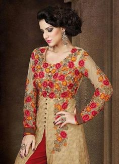 Designer Beige Embroidered Indian Suit Outfits ,Indian Dresses - 2