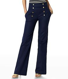 Ralph Lauren's Fisher stretch sailor pants in navy blue. $99.50- I am on an ever continuing search for the perfect pair of navy  blue high waist sailor pants.