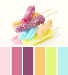 frosted summer- pink, purple, orange, green, and blue color scheme