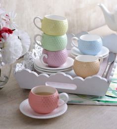 Sanjeev Kapoor's Spice Cups & Saucers - Set of 6 Sanjeev Kapoor, Kitchenware, Tableware, Large Homes, Cup And Saucer Set, Bone China, Spice, Cups, Home Appliances
