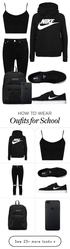 nike shoes Tuesday School by kellyaguilera on Polyvore featuring Topshop, Boohoo, NIKE, JanSport, casual, school and teen