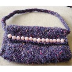 Purple & Shocking Pink Delight! Hand Knitted Mohair Handbag. £14.00 Handmade Bags, Handmade Items, Gifts For Friends, Gifts For Her, Small Handbags, Change Purse, Beautiful Gifts, Pink Satin, Hand Knitting