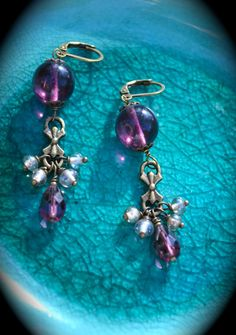 Purple Earrings with brass accents by practicallyfrivolous on Etsy