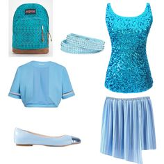 beaty and ocean blue, sparkle look by darinapitkevica on Polyvore featuring polyvore fashion style Gina Bacconi ANNA BAIGUERA JanSport Arizona