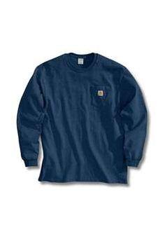 Carhartt Mens K126 Long Sleeve Workwear Pocket T Shirt - Dark Blue | Buy Now at camouflage.ca