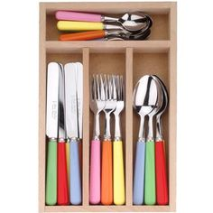 Our ever-popular solid resin-handled mixed cutlery set in blue, green, pink, yellow and red is now even more colourful with the addition of new shade bright orange. Mix and match with your favourites from our range of tableware.