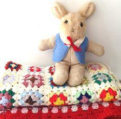 Vintage Crochet Blanket & Rabbit Soft Toy: www.cloth-ears.co.uk blog post: Vintage Finds In Margate
