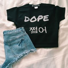 Dope Bts T-Shirt (€19) ❤ liked on Polyvore featuring tops, t-shirts, bts, outfits, dark olive, women's clothing, tee-shirt, shirt top, low top and cotton t shirts