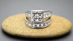 Princess .925 sterling silver 5A  grade cubic zirconia bridal set