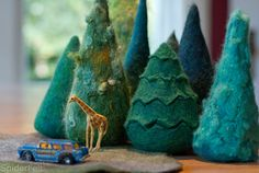 Felted trees by Leah Adams