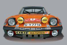 Porsche 914-6 Illustration Drawing by Alain Jamar