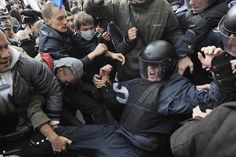 TORN: Activists clashed with riot police as they attempted to get into the mayoral office during a rally over the timing of an election in K...