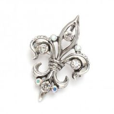 Antique Silver Fleur de Lis Mardi Gras Pin with #Crystals <3 www.imagebridal.com <3