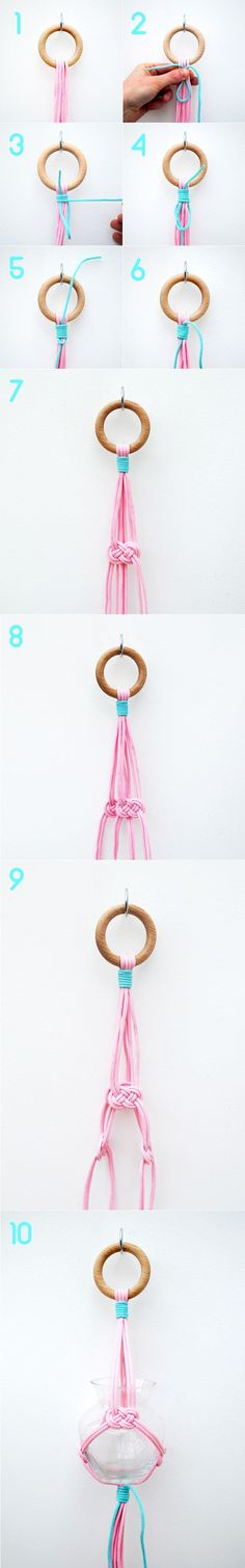 Simple hanging vase by minieco // carrick bend & gathering knot