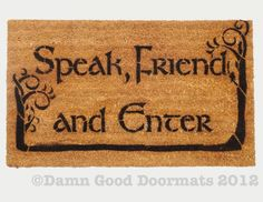 LOTR Tolkien  -Speak, Friend, and Enter- with Trees#doormat #geeky #houseware # outdoors #decor #gift #housewarming #lord of the rings #hobbit #tolkien #nerd #nerdy #geek #welcome mat