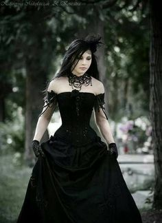 Goth woman in full tiered skirt