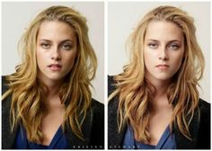 Shocking Photos of Celebs Before And After Photoshop That Set Unrealistic Beauty Standards - Kristen Stewart Photoshop Celebrities, Famous Celebrities, Hollywood Celebrities, Celebs, Beautiful Celebrities, Hollywood Actresses, Beautiful People, Before And After Photoshop, Celebrities Before And After