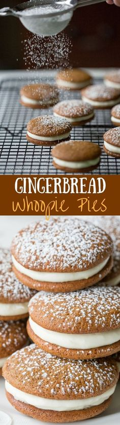 Gingerbread Whoopie Pies with Lemon Cream Cheese Filling - soft and sweet and loaded with gingerbread flavor with the perfect lemon filling. Holiday Cookies, Holiday Baking, Christmas Desserts, Holiday Treats, Christmas Treats, Holiday Recipes, Cupcakes, Cupcake Cakes, Whoopie Pies