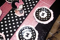 Glamorous Minnie Mouse Birthday Party table at Kara's Party Ideas. See more at karaspartyideas.com
