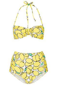 the cutest high waist yellow bandeau bikini - lemons!