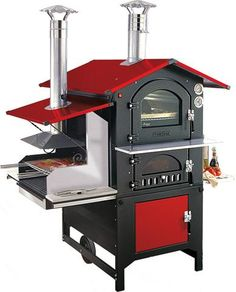 Wood-burning Oven Barbecue Combo, boy do I want this, think of the fun I could have trying out different cooking techniques! Outdoor Oven, Outdoor Cooking, Bbq Grill, Grilling, Campfire Grill, Wood Burning Oven, Four A Pizza, Smoke Grill, Stove Oven