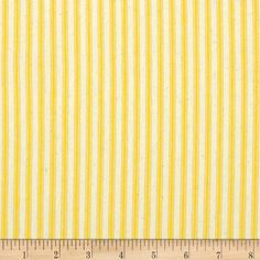 "44"" Ticking Stripe Yellow from @fabricdotcom  This medium weight woven twill ticking fabric is perfect for window treatments (draperies, curtains, valances, swags), bed skirts, duvet covers and accent pillows. Please allow for shrinkage. Colors include natural and yellow."