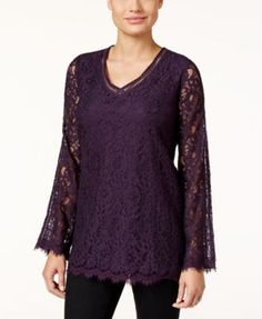 Style & Co. Lace Bell-Sleeve Top, Only at Macy's