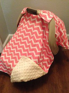 Salmon Pink Chevron carseat canopy MINKY FREE by LilacsAndLeopards