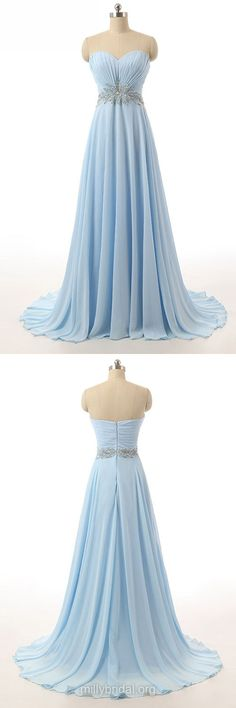 Simple Long Prom Dresses, Light Sky Blue Formal Dresses, Chiffon Sweetheart Party Dresses, Sweep Train with Beading Evening Dresses