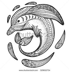 Zentangle stylized image of totem animal: dolphin. Adult anti stress page for coloring book. Hand drawn illustration in doodle style. Vector black isolated sketch - stock vector