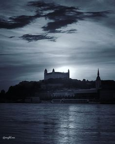 Sunset over Bratislava, Slovakia (BnW) - Beautiful places for vacation and trip. Bratislava Slovakia, Sunsets, Photo S, Travel Photography, Beautiful Places, Castle, Europe, River, Vacation