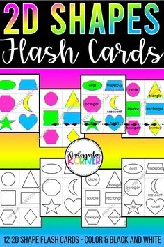 These 2D Shapes Flash Cards are the perfect teaching tool for your Geometry Unit in Pre-K or Kindergarten...12 Shapes Flash Cards...Color or Black and White...2 Formats For classroom use or remote… More