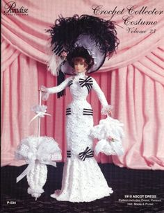 1910 Ascot Dress for Barbie Doll Paradise 23 Crochet Pattern Leaflet for sale online Crochet Doll Dress, Crochet Barbie Clothes, Knitted Dolls, Doll Dress Patterns, Barbie Patterns, Costume Patterns, Barbie Gowns, Barbie Dress, Barbie Stil