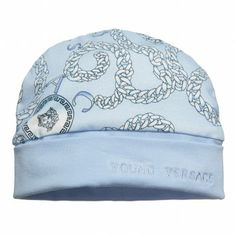 2448b9b429a Young Versace Baby Boys Blue Cotton Hat at Childrensalon.com