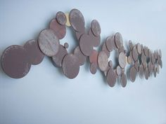 Circles in Steel. Long Abstract Metal Wall Art Sculpture. Dark. Made to Order.. $355.00, via Etsy.