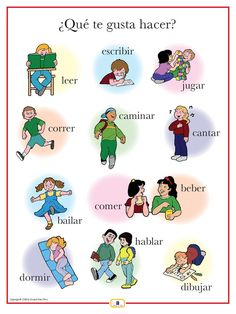 Spanish Activities Poster Kids - action verbs
