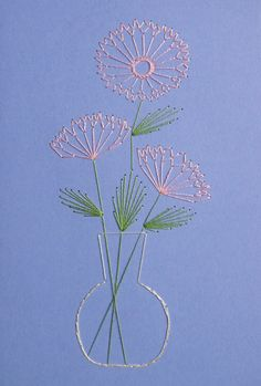 Flowers in Vase set of 3 hand stitched greetings cards by BooTeeq