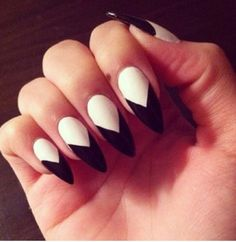Black and white amazing stiletto nails