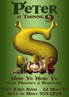 Shrek Birthday | Shrek Birthday Party Invitation - featuring Shrek, Fiona, Donkey and ...