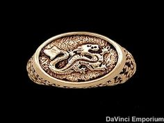 The Wheel of Time Asha'man Dragon Signet Ring 14k Yellow Gold Red Enamel Option #Unbranded #Signet