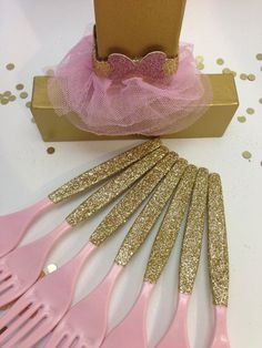 Gold Glitter Party Plastic Utensils Forks by PartyPresentation