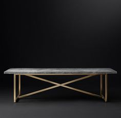 RH Modern's Torano Marble Rectangular Dining Table:Designed by Timothy Oulton, our table exemplifies the cool minimalism of 1970s Italian design. Torano juxtaposes an austere X-base metal frame with a clean-edged, polished marble top.